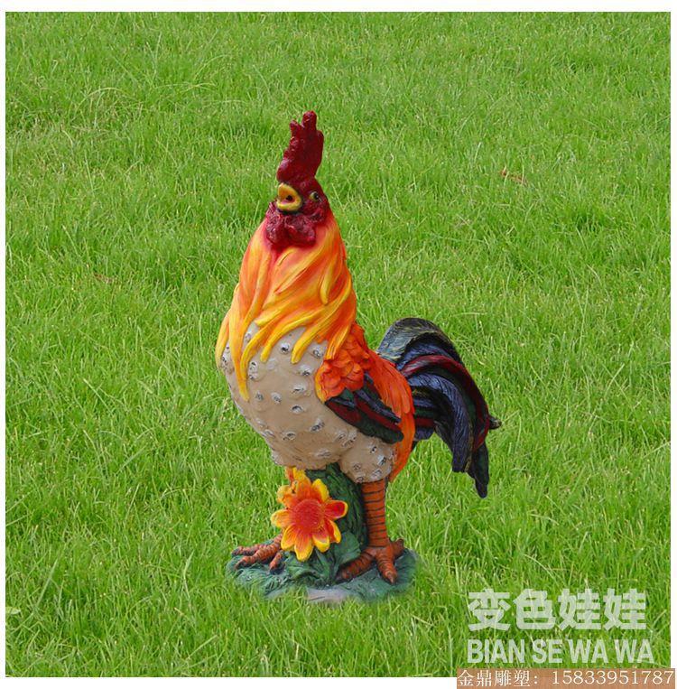 大公鸡雕塑彩绘 (1)
