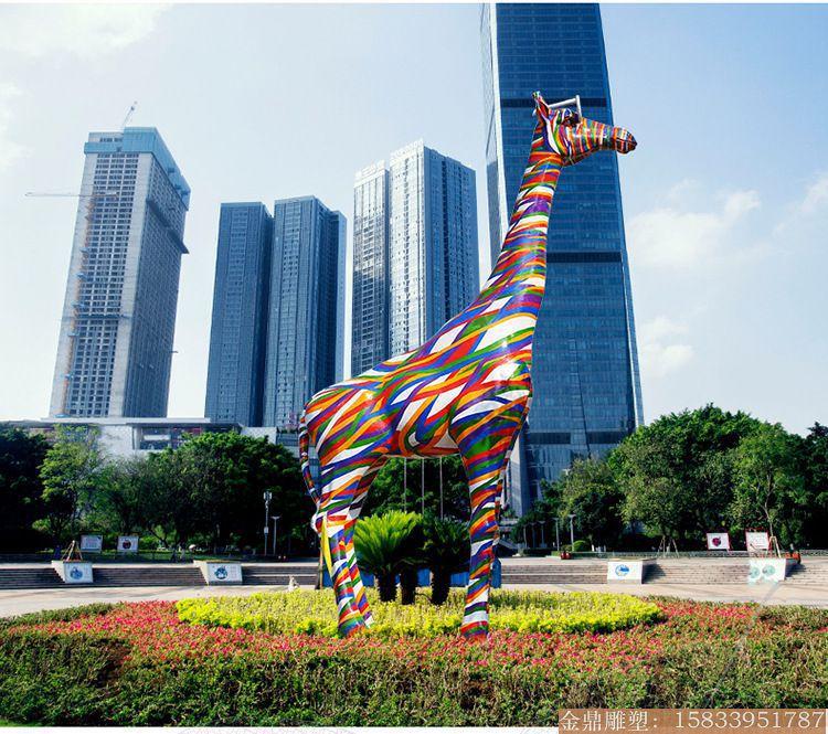 大型彩虹版长颈鹿雕塑1 (4)